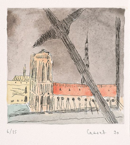 Beam of Pompidou across Cathedral by Judy Cassab, 1990