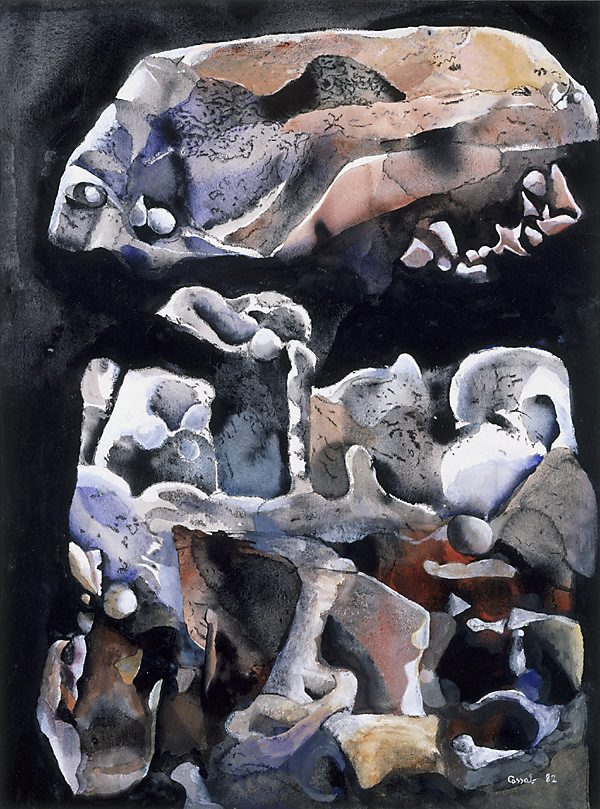 Desert Shapes, the boulder by Judy Cassab, 1982
